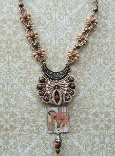 Feminine Bronze Micro-macrame Necklace Macrame Earrings, Macrame Jewelry, Macrame Bracelets, Loom Bracelets, Chevron Friendship Bracelets, Friendship Bracelets Tutorial, Geek Cross Stitch, Super Duo Beads, Micro Macramé