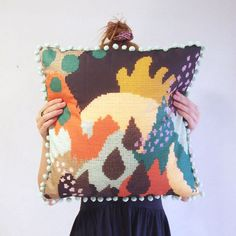 Unique Printed Cushion Cover with Abstract Needlework Design and Pom Pom Trim