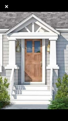 House exterior cape cod curb appeal for 2019 Door Overhang, Front Door Overhang, House With Porch, House Entrance, House Front, Porch Design, Front Door, Cape Cod House Exterior, Building A Porch