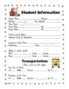 Send this home with the kids on the first day, or ask parents to fill them out at Open House. Make copies and bind them together so you have it handy.