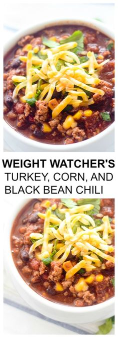 Weight Watcher's Turkey, Corn and Black Bean Chili - Recipe 10 net carbs/1 cup