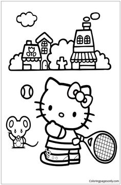 Hello Kitty Playing Tennis Coloring Page