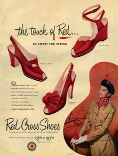 Vintage Shoes Red Cross Shoes from the red wedge heels pumps slingback buckle color print ad war era fashion style vintage WWII 1950s Shoes, Retro Shoes, Vintage Shoes, Vintage Dresses, Vintage Outfits, Vintage Accessories, Vintage Clothing, Madame Gres, Pierre Balmain