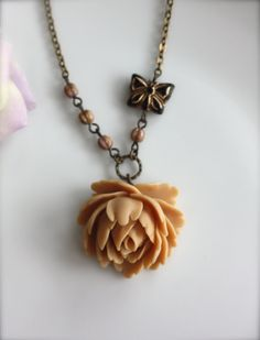 A Latte Cabbage Rose with Unique Butterfly Czech Glass Bead, Czech Brown Melon Glass Necklace.  For Her. Bridesmaid Gifts.