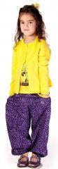 Cute purple pants in leopard look with yellow details. Purple Pants, Knit Cardigan, Cloths, Parachute Pants, Kids Outfits, Yellow, Cotton, Fashion, Drop Cloths