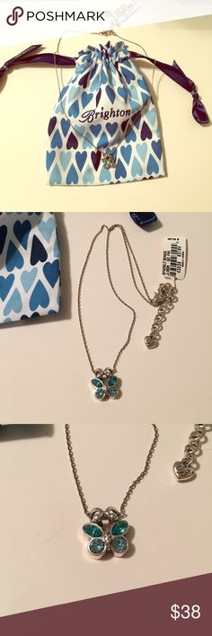 "NWT Brighton Blue Butterfly Necklace NWT Authentic Brighton Blue Sparkle Butterfly Necklace! Never worn! Includes Dust Bag! ""Beauty"" engraved on the back! NO TRADES! Brighton Jewelry Necklaces"