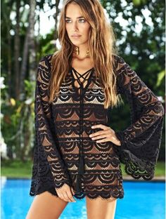 85b3bc2275 Stylish Lady Sexy Women s Beach Swim Bikini Cover-up Long Sleeve Lace  Hollow Out Dress