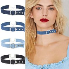 >> Click to Buy <<  Harajuku Fashion Punk Vintage Rhinestone Denim Choker Collar Necklace For Women Jewelry Accessories Short Necklace #Affiliate