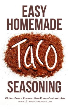 This homemade taco seasoning recipe can be made in minutes. And it's also preservative-free, gluten-free and easily customizable. So much better than storebought taco seasoning mix! Make Taco Seasoning, Taco Seasoning Packet, Seasoning Mixes, Seasoning Recipe, Homemade Spices, Homemade Seasonings, Gimme Some Oven, Homemade Tacos, Spice Mixes