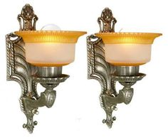 Lovely Pair of American Art Deco Wall Sconces ca 1920's   Modernism