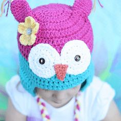 This free owl hat crochet pattern from Daisy Cottage Designs is great for fall days. Quick to make, your child will be wearing an owl hat in no time.