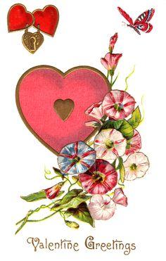 free Valentine download / clip art~ Valentine heart lock greeting