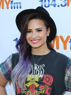 Demi Lovato Shows Off Purple Hair At Hollywood Bowl