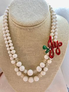 Repurposed Vintage Two 2 Strand Bib Multi White AB Red Christmas Joy Brooch Upcycled Altered Statement Wedding Art Deco Necklace Doodaba Christmas Necklace, Christmas Jewelry, Red Christmas, Vintage Christmas, Christmas Accessories, Custom Jewelry, Jewelry Art, Handmade Jewelry, Old Jewelry Crafts