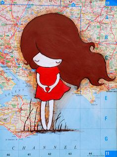 Show Your LoveGirl with long hair original painting by #lazydoll  This drawing is done in acrylics and colour pencil. measures 9x 12 inches  and is drawn on a old map.
