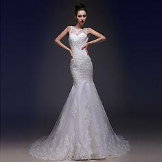 Trumpet/Mermaid Bateau Court Train Wedding Dress (Tulle/Charmeuse) – USD $ 129.99