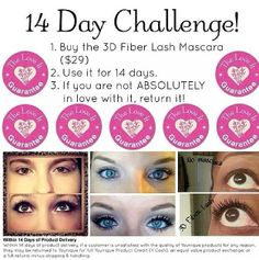 If you have been wanting to try the 3D Mascara that has been sweeping the social media newsfeed, but not sure if you will like it accept this challenge!  Younique offers a LOVE IT guarantee!  If you do not LOVE anything you order, return it within 14 days for a FULL refund (less shipping).  You have nothing to lose...except lil' lashes. :)  www.youniqueproducts.com/ALBOE #younique #makeup #mascara #3dlashes #challenge #beauty