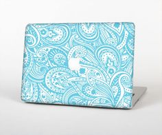 The Light Blue Paisley Floral Pattern Skin Set for the Apple MacBook Pro with Retina Display from Design Skinz Apple Macbook Pro, Macbook Pro 15, Paisley, Macbook Stickers, Funny Tattoos, Retina Display, Laptop Accessories, Chromebook, Apple Products
