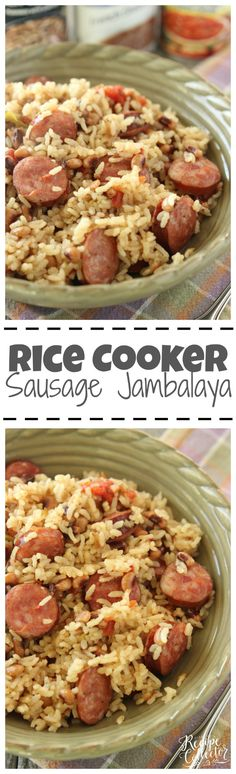 Rice Cooker Sausage Jambalaya - An easy one pot rice dish filled with sausage and black-eyed peas. It only has 5 ingredients! Rice Cooker Sausage Jambalaya - An easy one pot rice dish filled with sausage and black-eyed peas. It only has 5 ingredients! Multi Cooker Recipes, Rice Cooker Recipes, Pressure Cooker Recipes, Rice Recipes, Crockpot Recipes, Cooking Recipes, Cajun Cooking, Jambalaya Rice, Sausage Jambalaya