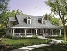 With a full wraparound porch, this cozy plan allows all the comfort of home in a smaller square footage.  Country House Plan # 741034.