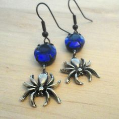 Spider Earrings Gothic Earrings Blue Crystal by pink80sgirl