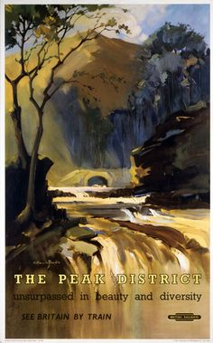 British Railways (London Midland Region), The Peak District - Waterfall, by artist Claude Buckle,