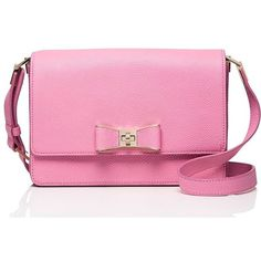 Kate Spade Chaplin Drive Danila ($698) ❤ liked on Polyvore featuring bags, handbags, shoulder bags, cross body, pebbled leather handbag, embellished handbags, pink shoulder bag, pink bow purse and bow handbag