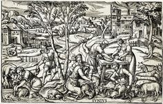 It's About Time: June 1500s.  Anonymous woodcut after 1568 Étienne Delaune (French artist, 1518-1595) Labours of the Months 6 June