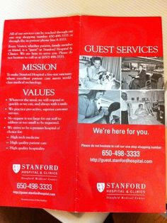 Here is a brochure from Stanford Hospital guest services. This awesome program is discussed in 52 Days:The Cancer Journal. Stanford Hospital, Cancer Journal, Guest Services, True Stories, First Love, Awesome, First Crush, Puppy Love