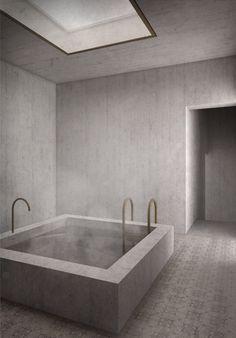 Ein Badehaus by Constantin Schmidt - Masterthesis 2014 Spa Interior, Luxury Homes Interior, Interior Architecture, Interior Design, Bathroom Spa, Master Bathroom, Zen Master, Bathroom Plans, Budget Bathroom
