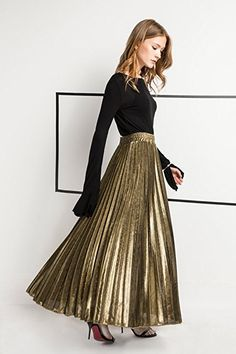 Z&I Women's Elastic Waist Retro Luster Elegant Pleated A Line Maxi Skirt Gold S at Amazon Women's Clothing store: