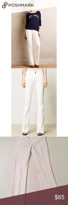 "Paige Hidden Hills bootcut flare jeans These white boot-cut jeans feature 5-pocket styling and a 2-button fly. Logo stitching at back pocket. 99% cotton/1% elastane. Waist: 24"" ; inseam: 31"". Paige Jeans Pants Boot Cut & Flare"