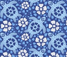 Hawaiian Turtles and Hibiscus - Blues fabric by coloroncloth on Spoonflower - custom fabric