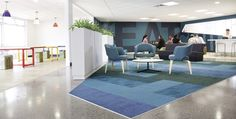 Breakout areas demonstrate a burst of colour and texture in comparison with the more utilitarian training rooms.