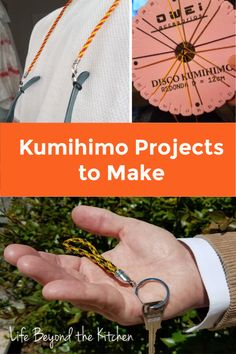 Make a key fob or eyeglass cord customized in your favorite colors! A simple round Kumihimo braid is an easy to learn craft with nearly endless possibilities. Diy Crafts For Gifts, Homemade Crafts, Fathers Day Gifts, Gifts For Dad, Gift List, Accent Colors, Jewelry Findings, Eyeglasses, How To Make