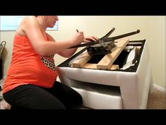 In this video, Taylor shows us how to make a DIY Swivel Rocking chair for under . Swivel Glider Chair, Lounge Chair Cushions, White Dining Chairs, Old Chairs, Ikea Chair, Diy Chair, Ikea Stand, Accent Chairs Under 100, Diy Cushion