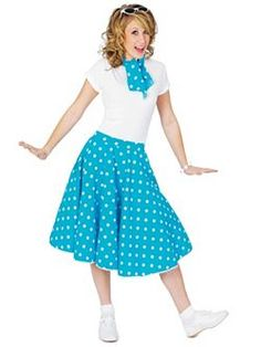 Blue Sock Hop Skirt Womens Costume Go back to the future to the dawn of Rock and Roll when the Sock Hop was the hippest place to go on a Friday night. The Women's Bl 50s Halloween Costumes, Costumes For Sale, Costumes For Women, 1950s Costumes, Nerd Costumes, 1950s Halloween, Vampire Costumes, Haunted Halloween, Women Halloween