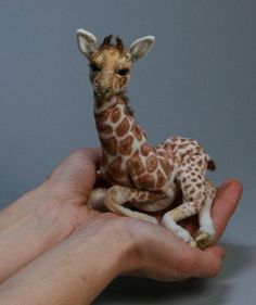 by k paws = Wow! Looks just like a real baby giraffe but better cuz it won't out grow the house :o) Wool Needle Felting, Needle Felted Animals, Wet Felting, Felt Animals, Animals And Pets, Baby Animals, Cute Animals, Felt Toys, Soft Sculpture