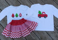Brother and Sister Personalized Christmas Outfit - Girls Tiered Skirt with Christmas Tree Shirt  - Boys Truck with Christmas Tree
