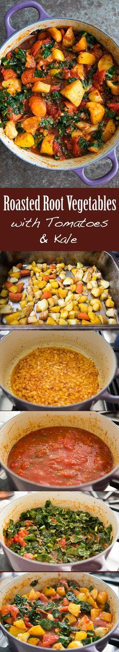 Roasted Root Vegetables with Tomatoes and Kale Recipe ~ A ragout of roasted root vegetables—parsnips, carrots, beets, rutabagas—with tomatoes and kale ~ SimplyRecipes.com #glutenfree #paleo #vegan