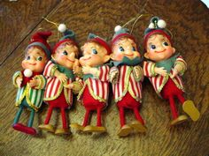 5 VINTAGE CHRISTMAS FELT PIXIE ELVES ELF W/WOODEN LEGS JAPAN LOT | eBay