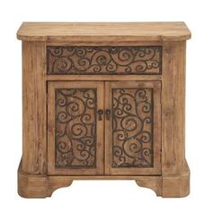 Wood Metal Cabinet With Graceful Curve Motifs Home Decor Accent Brown Black  #WOODLANDSIMPORTS