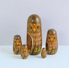 Vintage Nesting Owls / Russian Matryoshka Nesting Dolls
