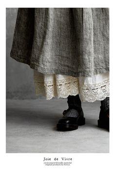 【送料無料】JoiedeVivre東炊きリネンアンティークギャザーマキシスカート