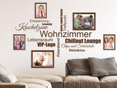 Epic Wandtattoos mit Bilderrahmen kombinieren u Ideen und Tipps Wandtattoo Wortwolke Wohnzimmer mit Holzrahmen