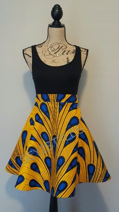 Self drafted half circle skirt in ankara wax fabric