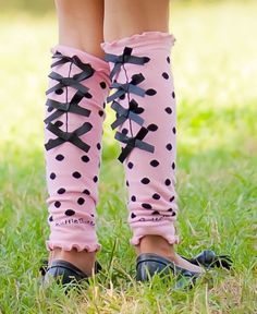 Pink & Black Bow Legwarmers for Babies & Toddlers