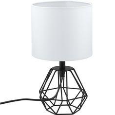 Druciana LAMPA stołowa CARLTON 2 95789 Eglo abażurowa LAMPKA stojąca drut biały czarny
