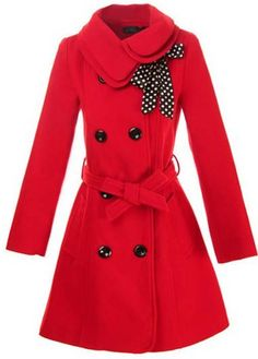 Catching Red Long Sleeve Turndown Collar Coat with Buttons - like the whole look with the polka dot scarf, too.