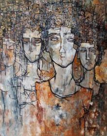 Artist Rupchand Kundu's Reflex Of Mind Painting Online. Light Brown acrylic Painting by Rupchand Kundu on Canvas, Figurative based on theme Rupchand Kundu Gallery. Contemporary Artists, Modern Art, Indian Paintings, Online Painting, Figure Painting, Indian Art, Original Artwork, Mad, Mindfulness